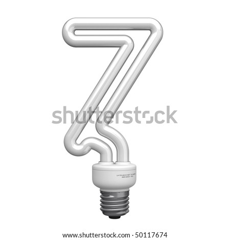 Number 7 from lamp alphabet. There is a clipping path