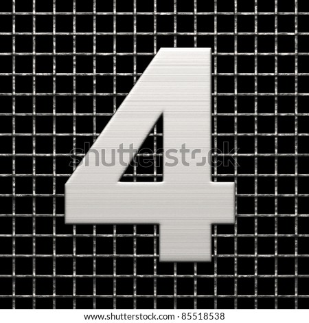 Number 4 from metal net alphabet. There is a clipping path