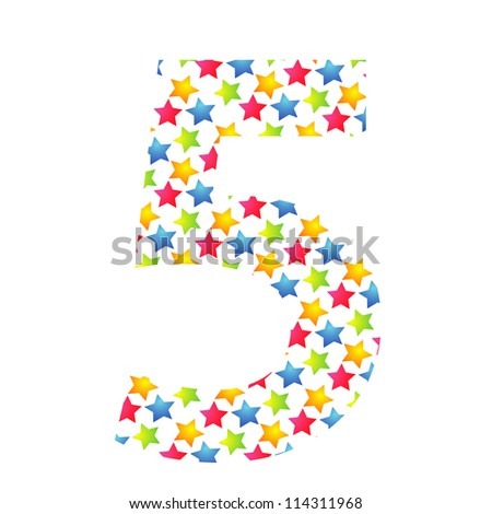 Number 5 from paper small star on white background. - stock photo