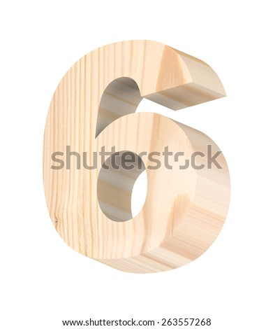 Number from pine wood alphabet set isolated over white. Computer generated 3D photo rendering. - stock photo