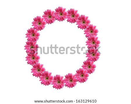 Number 0 from pink gerbera flowers alphabet isolated on white background - stock photo