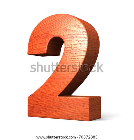 Number 2 from redwood alphabet. There is a clipping path - stock photo