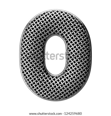 Number 0 from round microphone style alphabet. There is a clipping path - stock photo