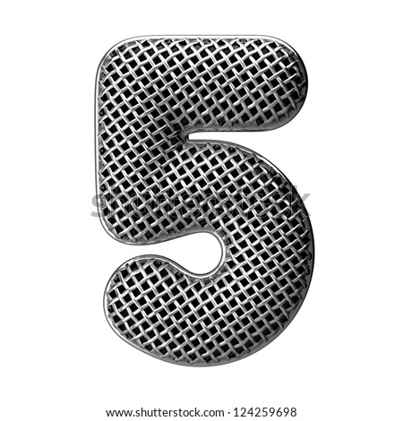 Number 5 from round microphone style alphabet. There is a clipping path - stock photo