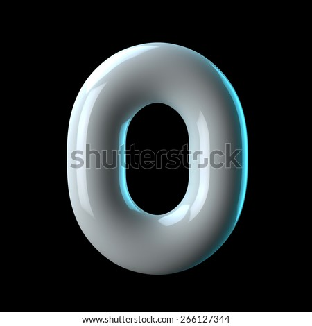 Number 0 from round white blue light alphabet. There is a clipping path