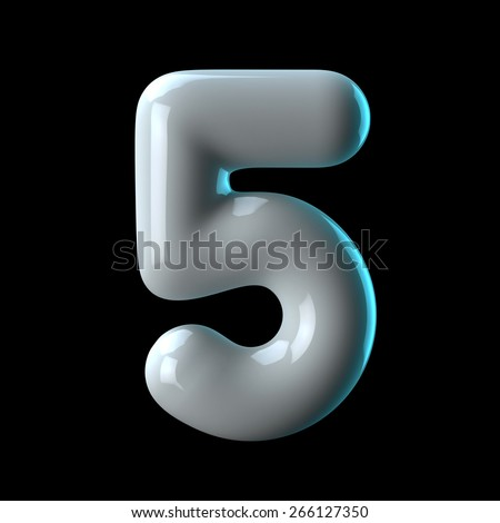 Number 5 from round white blue light alphabet. There is a clipping path - stock photo