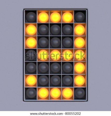 Number 9 from scoreboard alphabet (5x7 lights) - stock photo