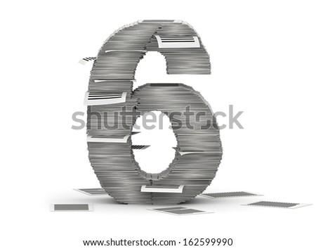Number 6, from stacks of paper pages font - stock photo