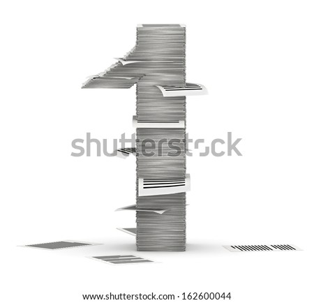 Number 1, from stacks of paper pages font - stock photo