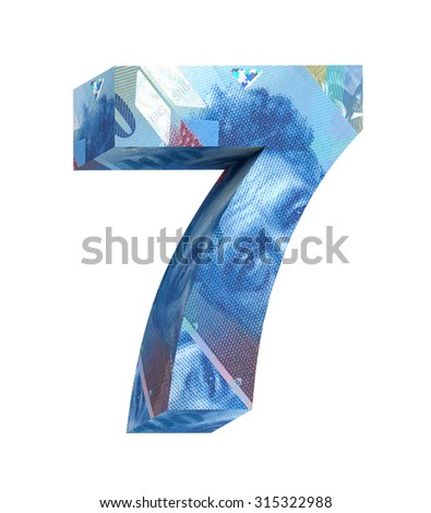 Number from swiss franc bill alphabet set isolated over white. Computer generated 3D photo rendering. - stock photo