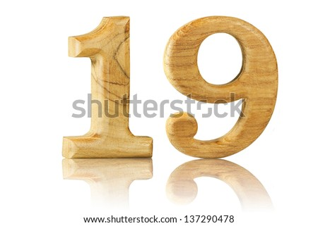 Number 19 from Teak wood on white background