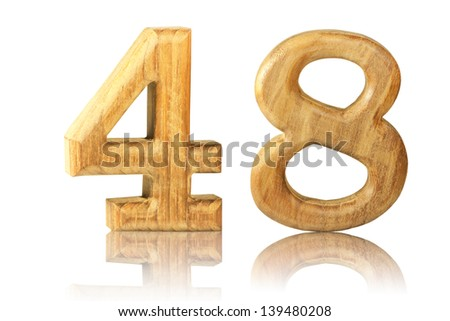 Number 48 from Teak wood on white background