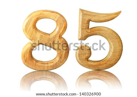 Number 85 from Teak wood on white background
