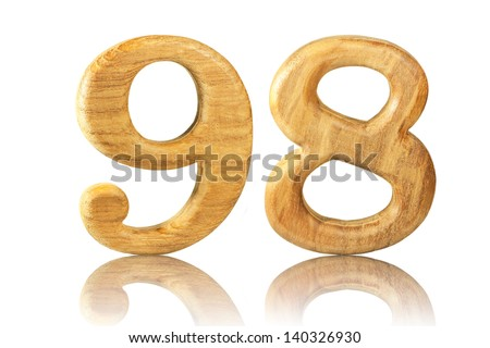 Number 98 from Teak wood on white background