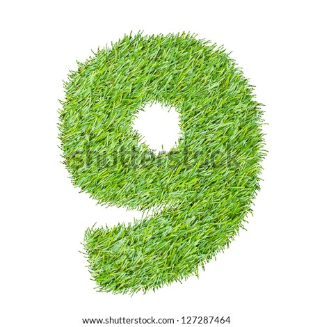 number from the green grass, isolated on white