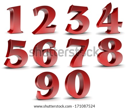 Number from 0 to 9 in red over white background  - stock photo