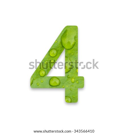 Number from waterdrop on green leaf texture on white background - stock photo