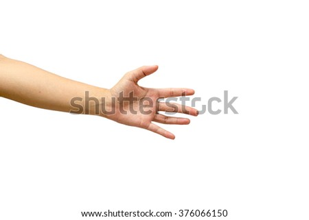 number 5 gesture hand isolated on white background