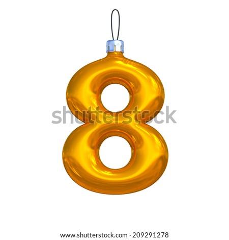 Number 8. Golden shining christmas ball. Alphabet isolated on white background. - stock photo