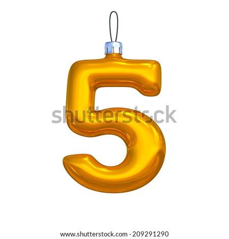 Number 5. Golden shining christmas ball. Alphabet isolated on white background. - stock photo