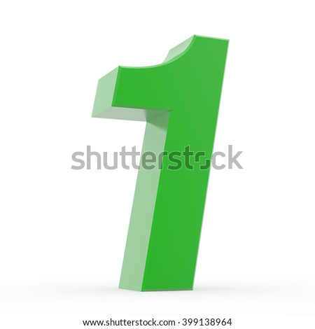 Number 1 green collection on white background illustration 3D rendering - stock photo