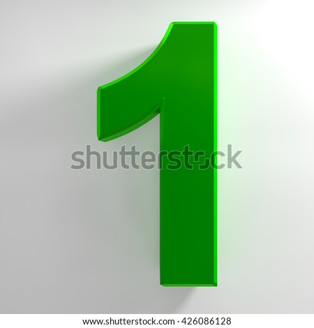 Number 1 green color collection on white background illustration 3D rendering
