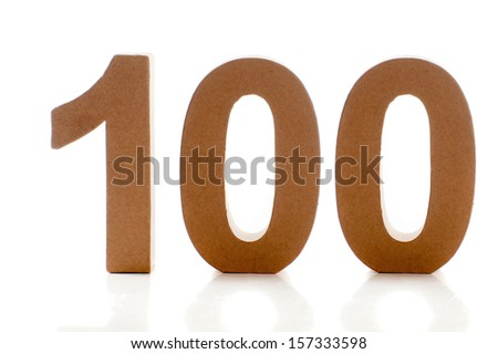 Number hundred on a white background