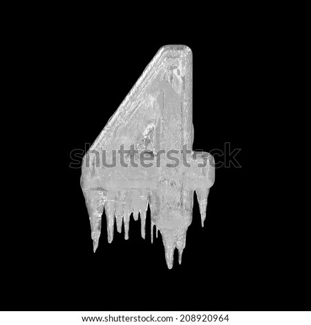 Number 4. Ice font isolated on black background. Alphabet. - stock photo