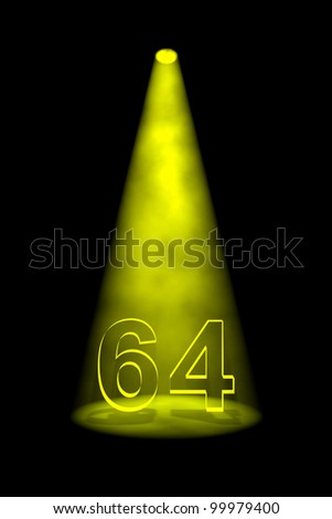 Number 64 illuminated with yellow spotlight on black background - stock photo