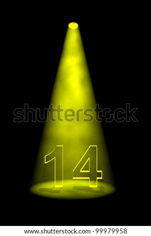Number 14 illuminated with yellow spotlight on black background - stock photo