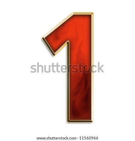 Number 1 in fiery red & gold isolated on white series - stock photo