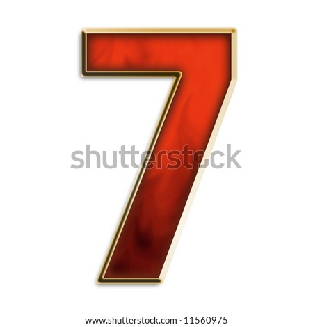 Number 7 in fiery red & gold isolated on white series - stock photo
