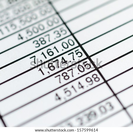 Number in paper chart (Focus on specific number) - stock photo