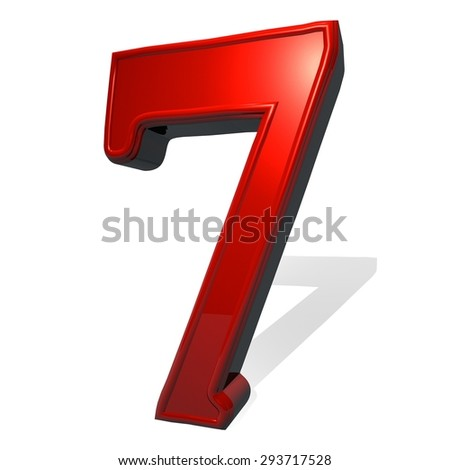 Number 7 in red reflecting material, isolated over white, with shadow, 3d render, square image - stock photo