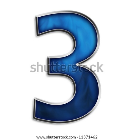 Number 3 in steel smokey blue isolated on white - stock photo