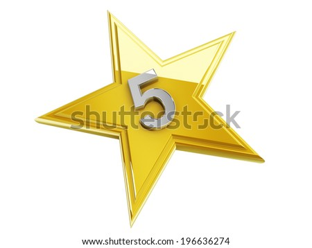 number 5 in the star - stock photo