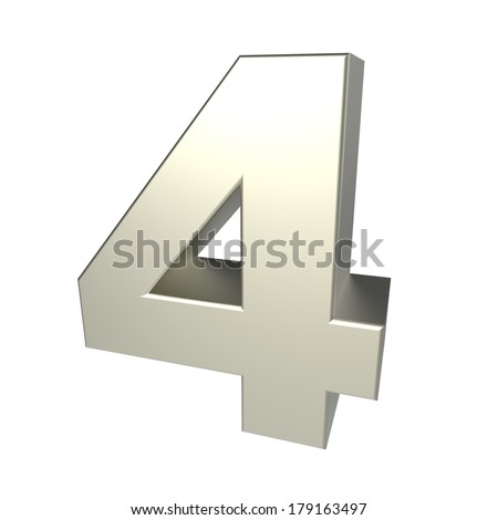 number 4 isolated on white background