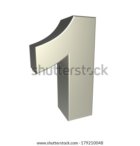 number 1 isolated on white background
