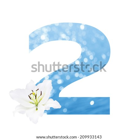 Number 2 made from Abstract circular bokeh background of Light shining on the river shot in manual mode out of focus and white lilly , clipping path.