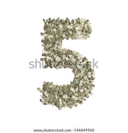 Number 5 made from Dollar bills - stock photo
