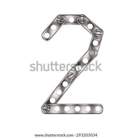 Number made from metall construktor. Isolated 3d.