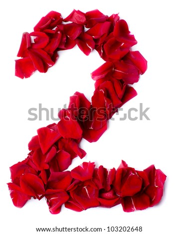 number 2  made from red petals rose - stock photo