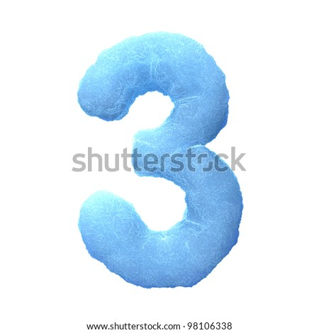 Number 3, made of blue ice isolated on white background.