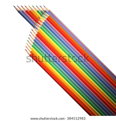number 7, made of colored pencils, flat digit with long shadow is made of pencils