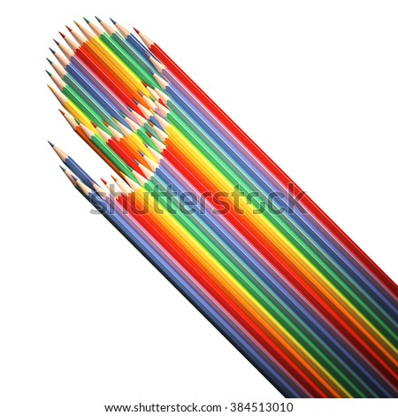 number 9, made of colored pencils, flat digit with long shadow is made of pencils