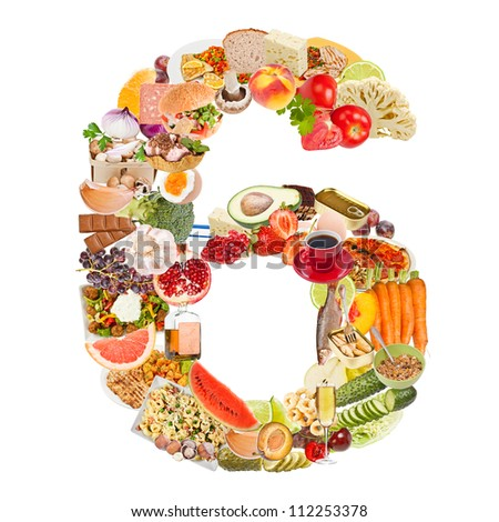 Number 6 made of food isolated on white background - stock photo