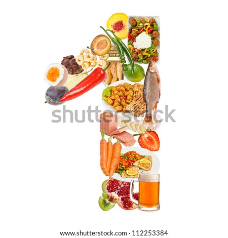 Number 1 made of food isolated on white background - stock photo