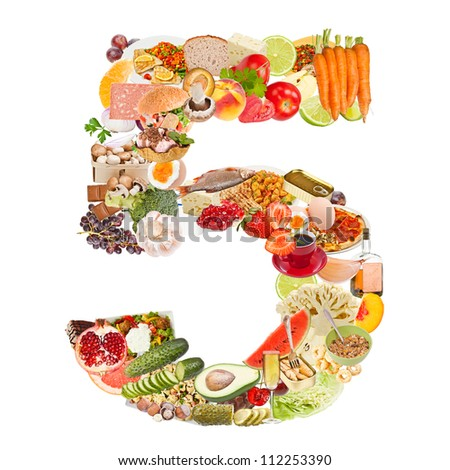 Number 5 made of food isolated on white background - stock photo