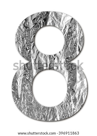 Number made of foyd plate on white background