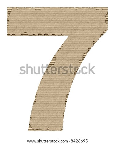 number 7 made of torn cardboard - stock photo